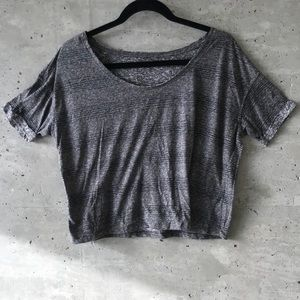 Distressed Cropped Grey T-Shirt